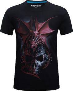 492f810241b Men Skull Dragon Short Sleeve Black T-shirt Black Friday Back To School  Happy Birthday