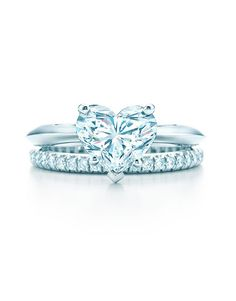 romantic Tiffany's heart shaped diamond wedding engagement rings