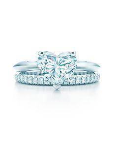 romantic Tiffany's heart shaped diamond wedding engagement rings