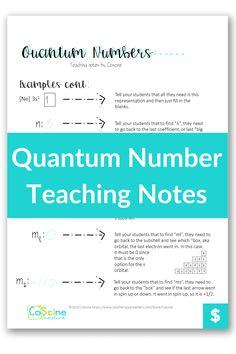 Quantum numbers are challenging to teach even for the most talented teachers. So why not make it easier to teach with this guide that tells you exactly what to say...so your students understand the first time. #Quantumnumbers Chemistry Classroom, High School Chemistry, Teaching Chemistry, Balancing Equations, Chemical Equation, Positive Comments, Teaching Strategies, Lesson Plans, Numbers