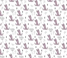 Adorable little baby bunny geometric scandinavian style rabbit for kids gender neutral black and white lilac fabric - custom fabric and wallpaper inspiration for kids clothes fun fashion and trendy home decorations.