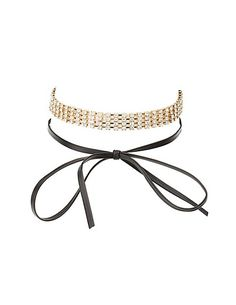Rhinestone & Faux Leather Choker Necklaces - 2 Pack