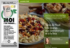 Tarte de Noël : courge, canneberges et feta - La Presse+ Mets, Tofu, Quiche, Vegetarian Recipes, Oatmeal, 20 Minutes, Vegetables, Recherche Google, Parfait