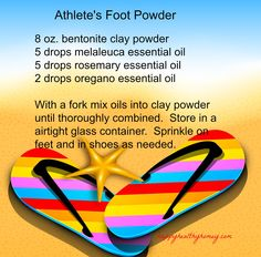 Athlete's Foot Powder using natural ingredients Melaleuca Essential Oil, Oregano Essential Oil, Essential Oils 101, Doterra Essential Oils, Foot Remedies, Natural Remedies, Foot Powder, Athlete's Foot, Foot Soak