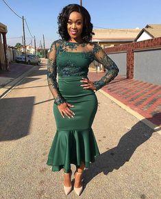 shweshwe dresses in south africa 2020 - Spiffy Fashion African Traditional Wedding, African Traditional Dresses, African Attire, African Fashion Dresses, Fashion Styles, Fashion Outfits, Geek Fashion, Dress Outfits, African Bridesmaid Dresses
