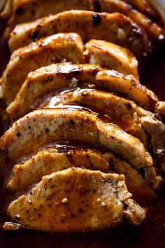 How To Make Easy Pork Loin Roast cooked with the most incredible Honey Garlic Butter Sauce! Oven and Slow Cooker Methods included! Easy Pork Loin Recipes, Boneless Pork Loin Recipes, Filet Recipes, Pork Tenderloin Recipes, Pork Loin Recipes Slow Cooker, Crockpot Recipes, Pork Chops, Pork Tenderloins, Recipe For Roast Pork Loin