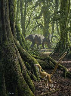 #Hesperonychus & #Chasmosaurus, by Raúl Martín. #dinosaur #paleoart