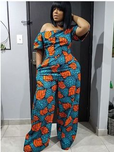 Ankara jumpsuits when designed and worn properly is comfortable for various occasions. See various Ankara jumpsuits for every occasion for the weekend. Get dressed up with the latest in Ankara fashion of jumpsuits and bring out the best of your looks. African Fashion Designers, African Fashion Ankara, African Inspired Fashion, African Print Dresses, African Print Fashion, African Wear, African Attire, African Women, Ankara Jumpsuit
