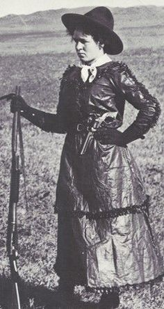 Antique photo of unidentified woman cattle rancher in old west Colorado, circa 1890.