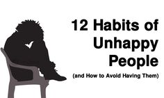 Unhappiness is a disposition acquired through how we choose to live our lives. Here are 12 habits that can cause unhappiness, and how to avoid having them...