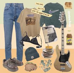 Play guitar under candlelight with this outfit on the beach Fashion Kids, 90s Fashion, Fashion Models, Fashion Outfits, Grunge Outfits, Aesthetic Fashion, Aesthetic Clothes, Skateboard Style, Tokyo Street Fashion