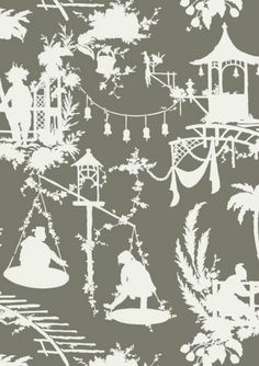 South Sea #chinoiserie wallpaper and coordinating printed fabric in gray from the #Resort collection by #Thibaut