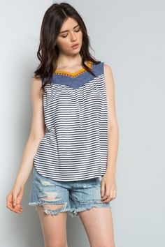 THML | Women's striped sleeveless top with denim details great for transitioning from summer to fall weather.
