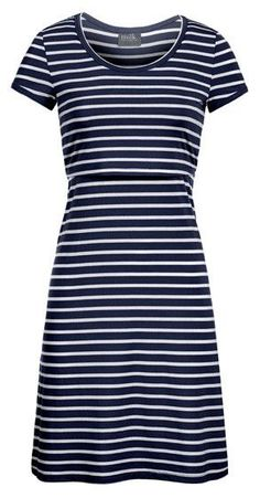 Navy Striped Nursing Dress