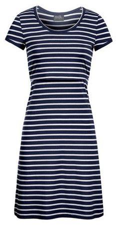 Striped Scoop-Neck Nursing Dress {Dark Navy}