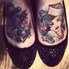 My sailor feet! Tattooed by Tim at Blu Gorilla in Charleston, SC! <3!