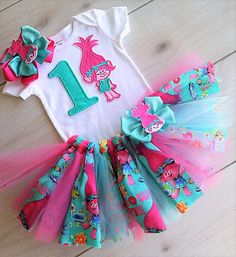 New Super Cute Poppy Troll Birthday Tutu Outfit/Free name