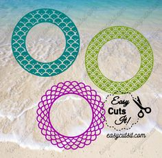 FREE for a Limited Time only!    Mermaid Scales Monogram Frames ~ SVG, DXF, EPS, PDF plus — EasyCutsIt!