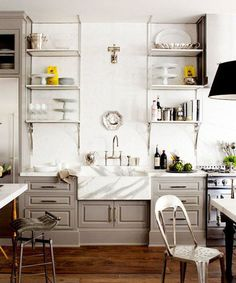 pale gray kitchen with open storage
