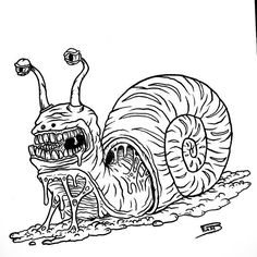 Day 23 : #inktober2016  Snails are slow, and I have nothing to add  #art #design #graphicdesign #draw #painting #paint #awesome #artwork #artist #amazing #drawing #beautiful #blackandwhite #inktober #ugly #dirty #melty #melted #melt #monster #creature #snail #snails #monsters #monstres #buff #slurp #gore #slow