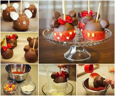 Minnie and Mickey Mouse Candy Apples idea - Foood Style. Dip apple in caramel, apply ear marshmallows and let set. Coat in milk chocolate and let set. Bottom half coated in white chocolate and then red sprinkles. Jellybeans for mickey dots and white chocolate chips for minnie dots.