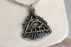 All Seeing Eye Pyramid w/ Hemp Necklace and by EtinifniCreations, $42.00
