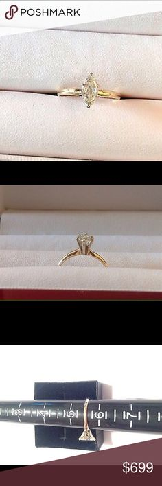 .50CT SI Marquise Diamond Engagement Ring 14k YG FOR SALE IS .50CT MARQUISE DIAMOND SOLITAIRE ENGAGEMENT RING SET IN SOLID 14K YELLOW GOLD. THIS RING FEATURES NATURAL DIAMOND .50CT AND IS SI CLARITY AND  UNTREATED COLOR J SIZE 5.5 Jewelry Rings