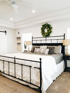 Magnolia Home Furniture Trellis Black King Metal Bed - Tradi.- Magnolia Home Furniture Trellis Black King Metal Bed – Traditional - Farmhouse Master Bedroom, Home Bedroom, Beds Master Bedroom, Bedroom Red, King Farmhouse Bed, Budget Bedroom, Bedroom Wardrobe, Bedroom Apartment, Black Bedroom Decor