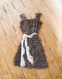 Taupe Flower Girl Dress with Ivory Sash Ruffle by KarolinaDesigns, $50.00