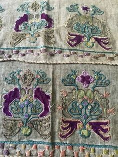 Pair Of Window Valences Ottoman-Turkish Silk Embroidered Linen 19th C. Antique in Antiques, Linens & Textiles (Pre-1930), Embroidery | eBay