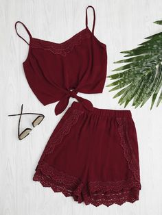 Loungewear by BORNTOWEAR. Knot Front Crochet Detail Cami Top With Shorts Pajama Set