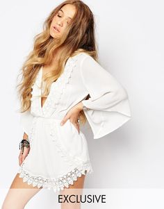 Image 1 of Kiss The Sky Romper with Plunge Neck and Lace Trim