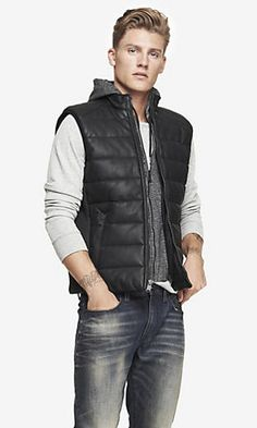 Express men's clothing gives you function and style in one. Check out our new men's fashion arrivals in suits, dress shirts, jeans, shirts and much more to update your men's style. Vest Outfits, Men's Wardrobe, Puffer Vest, Mens Fashion, Fashion Trends, Hoods, Latest Trends, Winter Jackets, Suits