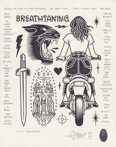 """Breathtaking"", 2015. Mike Giant, Ink Illustrations, Illustration Art, Body Art Tattoos, Sleeve Tattoos, Dessin Old School, Sailor Jerry, Flash Art, Sketch Inspiration"