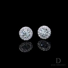 EVA Diamond Stud Earrings are a handcrafted pair of Jean Dousset earrings designed in our iconic Seamless Halo, available in your choice of precious metal. White Gold Diamond Earrings, Platinum Earrings, Platinum Jewelry, Diamond Studs, Diamond Jewelry, Stud Earrings, Jewelry Tags, Ear Jewelry, Bridal Jewelry