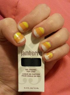 """Jamberry nail wraps holiday collection 2015, """"sticky fingers,"""" Halloween nails, Candy corn nails, gel top coat, accent nails, no nail chipping, prom nails, wedding nails, fashion, style, nail art, pretty cute nails, diy nails. lelaspumpupthejam.jamberry.com."""