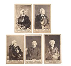 Revolutionary War Veterans CDVs   Lot of 5, all with backmark of N.A. & R. Moore; each depicting a different Revolutionary War Vet, including Alexander Millener, Aged 104; Lemuel Cook, Aged 105; William Hutchings, Aged 100; Samuel Downing, Aged 102; and Daniel Waldo, Aged 102, all with printed copyright information below, dated 1864.