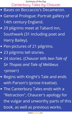 Canterbury Tales Short Summary - Read this article to know about the short summary of Canterbury Tales by Geoffrey Chaucer. History Of English Literature, English Novels, Middle English, English Study, English Language Learning, Teaching English, Famous Quotes From Literature, Chaucer Canterbury Tales, Praxis Study