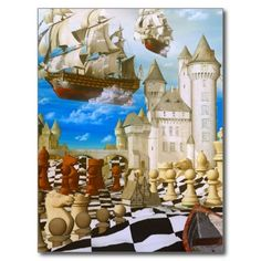 Surreal Chessboard | The Chess Player Painting | Chess art surreal postcards from Zazzle ...