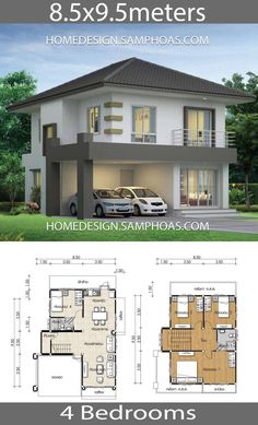 House design plans with 4 bedrooms. House description:Ground Level: One bedroom, two cars parking, Living room, Dining room, Kitchen Two Storey House Plans, 2 Storey House Design, Duplex House Design, House Design Photos, House Layout Plans, My House Plans, House Layouts, House Floor Plans, House Outside Design