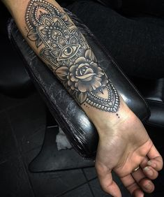 #Ornamental #Hamsa #Mandala #Tattoo #Arm #Cuff #Black #Grey