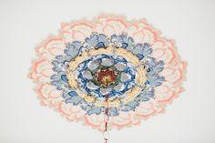 wallpaper covered chandelier medallion, Elizabeth Alexander Keeping Up Appearances : elizabethalexanderstudio.com
