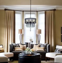 Pleated linen drapes,  beige and brown, inverted pleats,  contrast trim, solid linen curtains, drapes