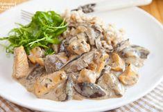 Kurczak w sosie grzybowym. Przepyszny obiad, który robi się naprawdę szybko. PRZEPIS Mozzarella, Pork, Chicken, Dinner, Cookies, Diet, Kale Stir Fry, Dining, Crack Crackers