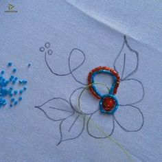hand embroidery pearl flower design stitching tutorial – The World Hand Embroidery Videos, Hand Embroidery Flowers, Bead Embroidery Patterns, Flower Embroidery Designs, Embroidery Sampler, Embroidery Techniques, Ribbon Embroidery, Embroidery Stitches, Flower Designs