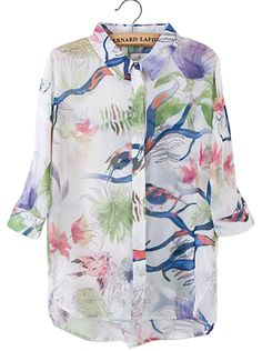 White Lapel Half Sleeve Birds Branches Print Blouse - Sheinside.com