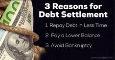 3 Reasons for Debt Settlement   1. Repay Debt in Less Time  2. Pay a Lower Balance  3. Avoid Bankruptcy  Learn More Here: