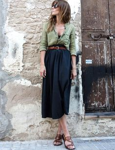 casual linen blouse and midi skirt