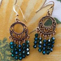 Emerald Dreamcatcher Swarovski Crystal Earrings