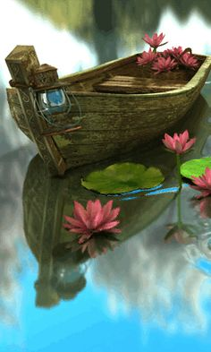 boat at lake.-- boat at lake… Beautiful Gif, Beautiful Flowers, Beautiful Pictures, Boat Art, Cellphone Wallpaper, Belle Photo, Animated Gif, Fantasy Art, Nature Photography